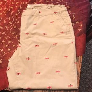 Talbots cropped khakis w/embroidered fireflies
